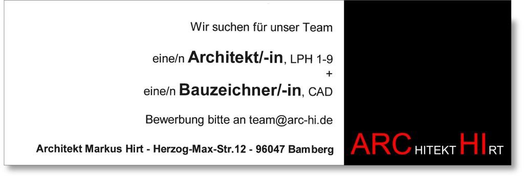 Stellenanzeige_Archi_HIRT_Bamberg